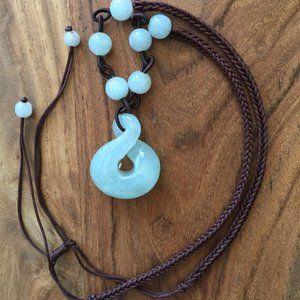 Pure Jade Necklace Silk Cord